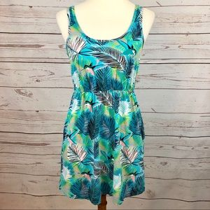 H&M Tropical Palm Hummingbird Babydoll Tank Dress